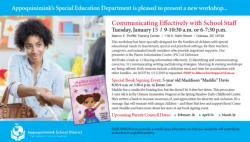 the special education department is pleased to present a new workshop communicating effectively with school staff on tuesday january 15